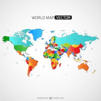 Mappa del mondo colorato vettore