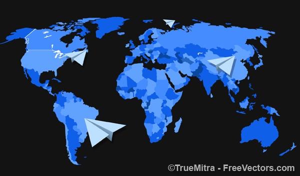 Mappa del mondo con aerei di carta
