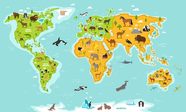 Mappa del mondo con animali e piante selvatiche.