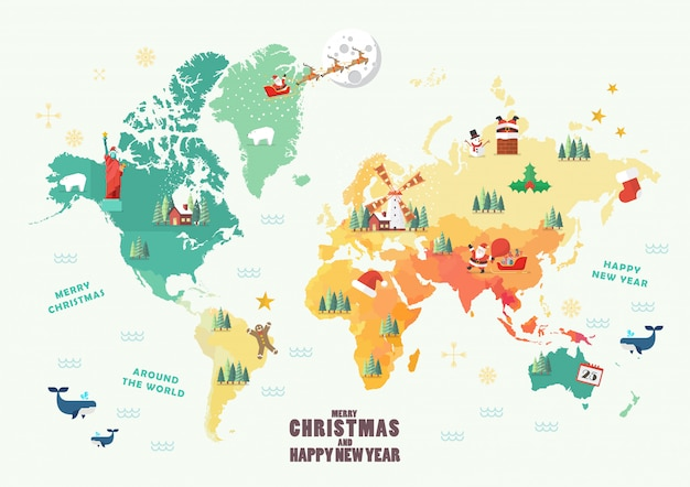 Mappa del mondo con elementi di natale