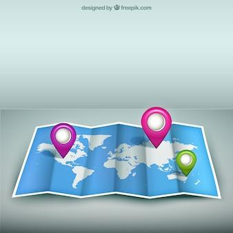 Mappa del mondo con i segnaposto