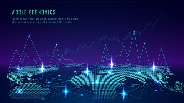 Mappa del mondo con il grafico nel concetto futuristico