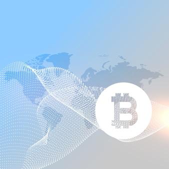Mappa del mondo con il vettore di simbolo di bitcoins