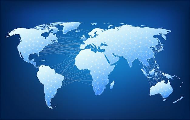 Mappa del mondo con nodi collegati da linee. mappa della struttura poligonale.