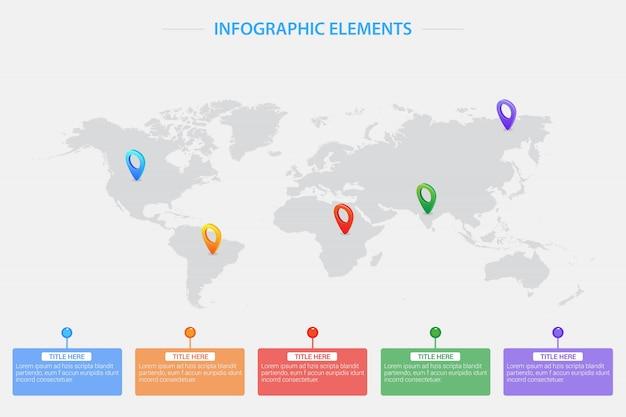 Mappa del mondo con puntatori di posizione