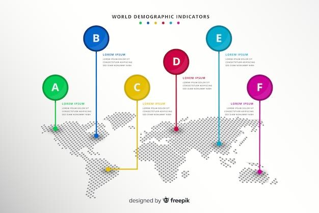 Mappa del mondo con segni di puntatore infografica