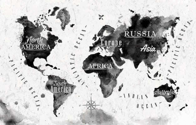 Mappa del mondo dell'inchiostro