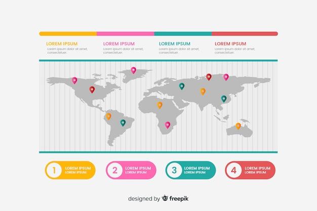 Mappa del mondo di affari infografica