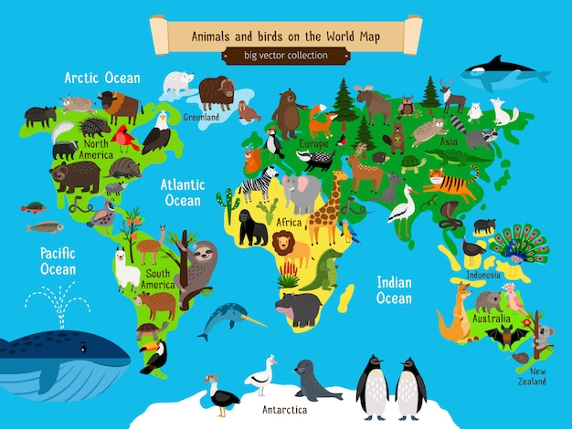 Mappa del mondo di animali