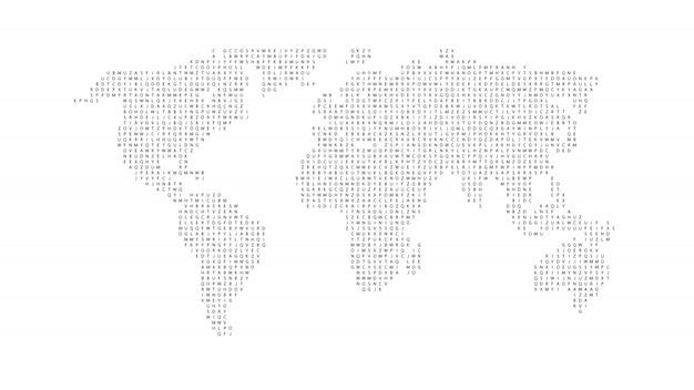 Mappa del mondo di colore nero isolato su sfondo bianco. modello piatto astratto con lettere