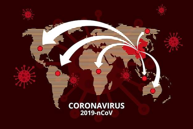 Mappa del mondo di coronavirus