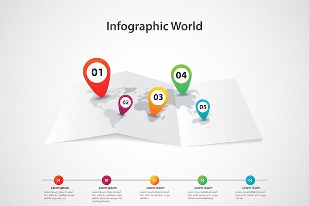 Mappa del mondo di infografica, posizione di piano di informazioni di comunicazione di trasporto
