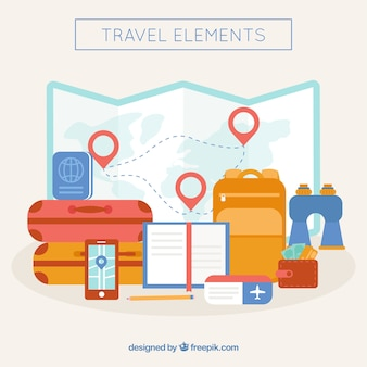 Mappa del mondo e elementi di viaggio con design piatto