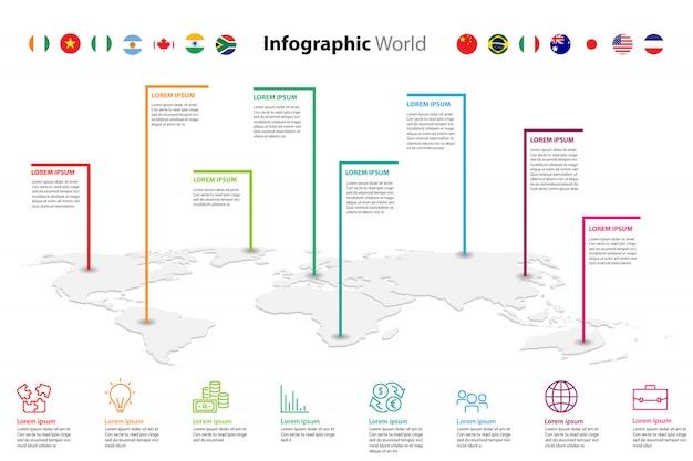 Mappa del mondo elemento infografica, icona informazioni aziendali infochart