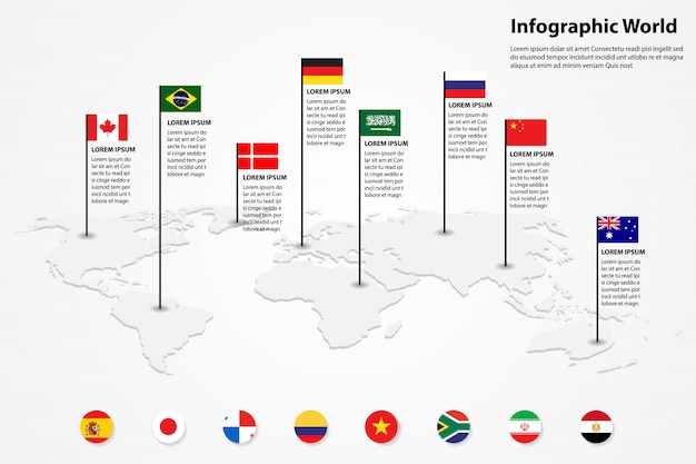 Mappa del mondo elemento infografica