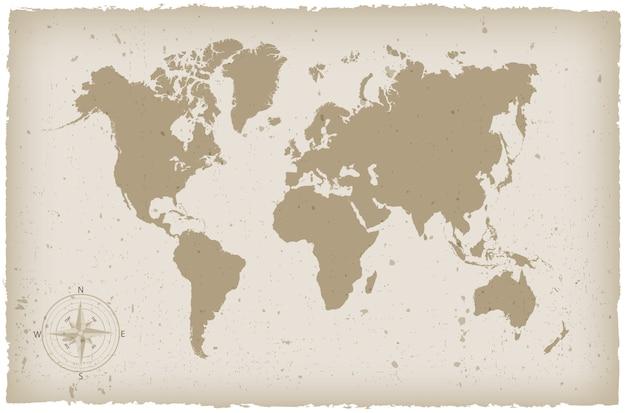 Mappa del mondo grunge