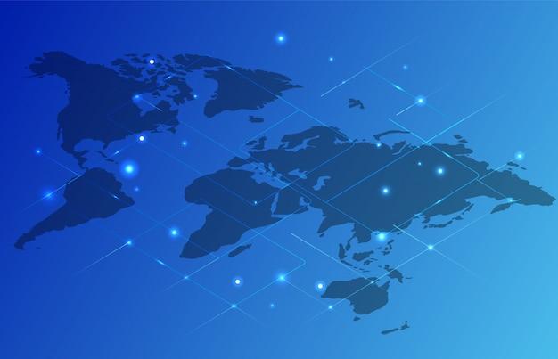 Mappa del mondo in colore blu