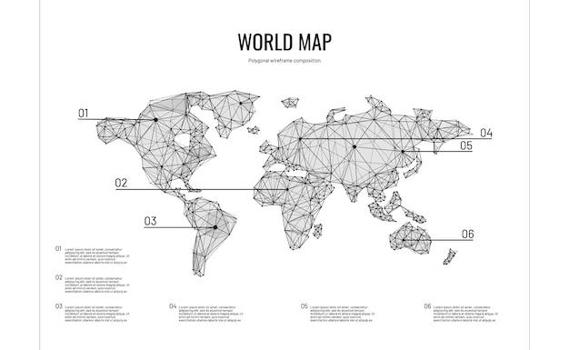 Mappa del mondo in stile poligonale wireframe