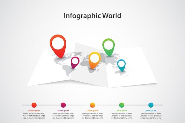Mappa del mondo infografica, comunicazione dei trasporti e posizione del piano informativo