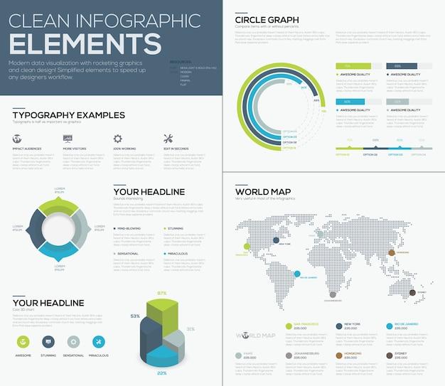 Mappa del mondo infographcis e pulito elementi di vettore business design
