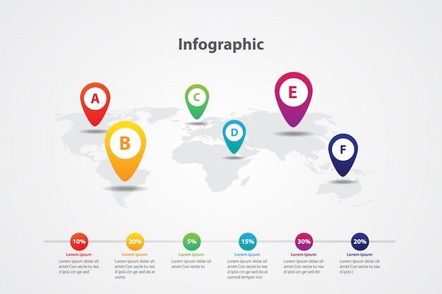 Mappa del mondo mappa bandiera marcatura infografica