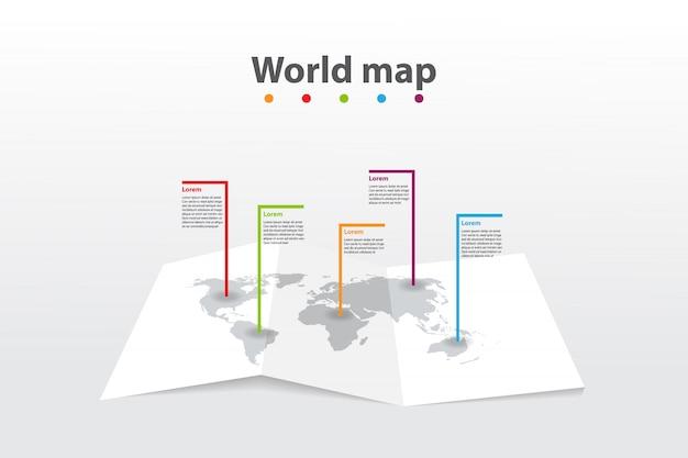 Mappa del mondo modello infografica, la posizione del piano di informazioni di comunicazione di trasporto