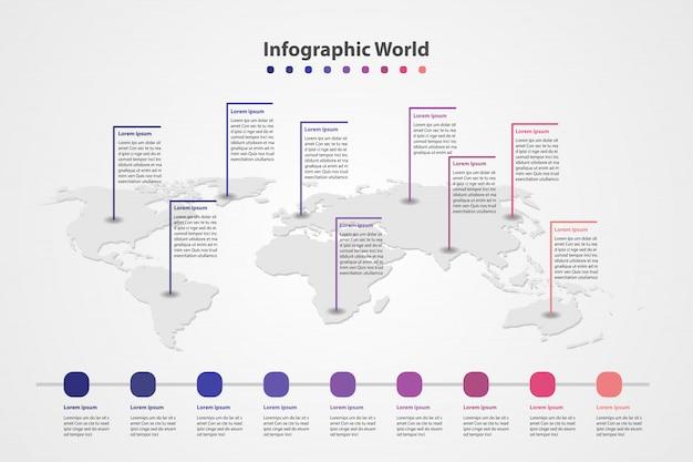 Mappa del mondo paese infografica, bandiere del mondo internazionale.