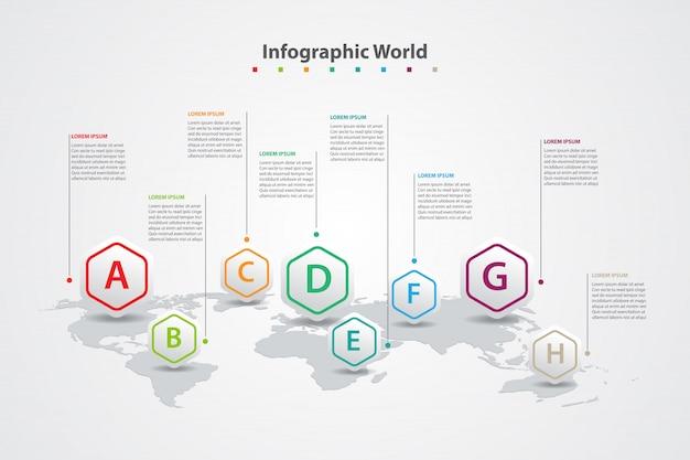 Mappa del mondo paese infografica, bandiere del mondo internazionale