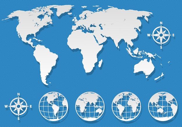 Mappa del mondo piatto e globi elementi su sfondo blu