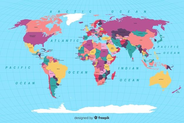 Mappa del mondo politico colorata