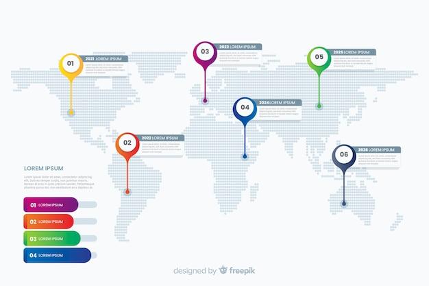 Mappa del mondo professionale infografica
