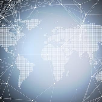 Mappa del mondo punteggiato con modello di chimica, linee e punti di collegamento.