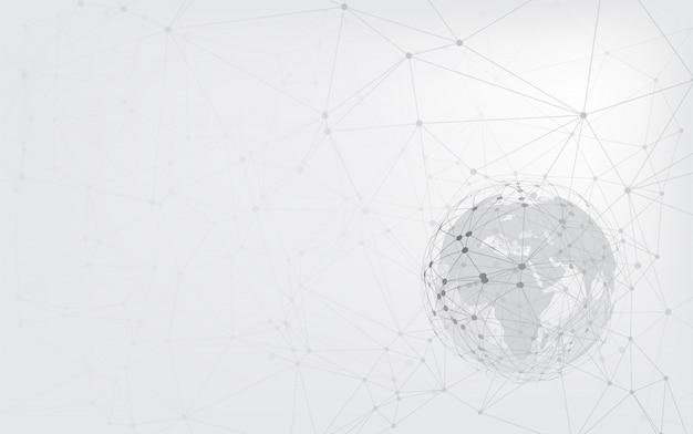 Mappa del mondo punto e linea composizione concetto di business globale. connessione di rete globale
