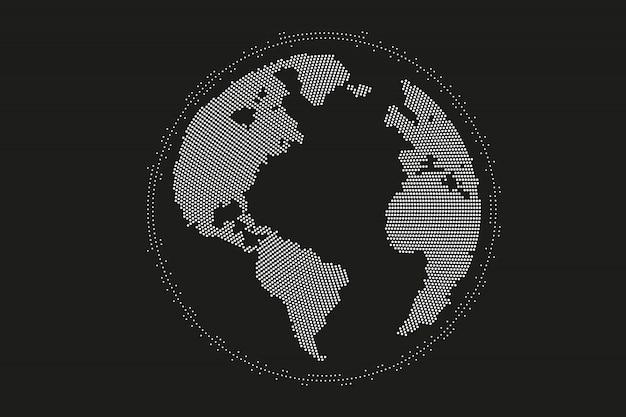 Mappa del mondo punto, linea, composizione, che rappresenta il globale, connessione di rete globale, significato internazionale