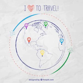 Mappa del mondo sketchy infografica per i viaggi