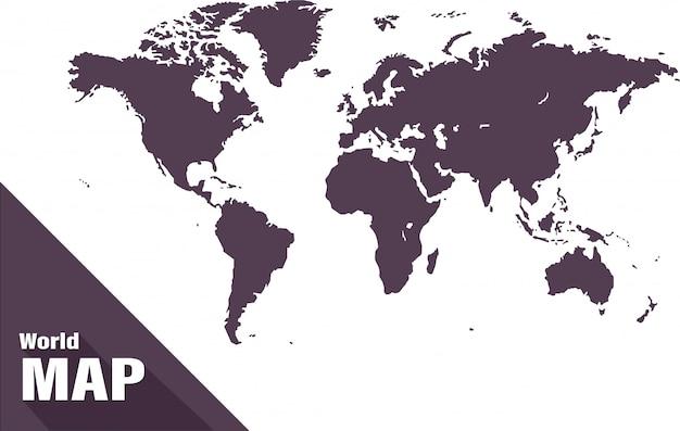 Mappa del mondo su sfondo bianco