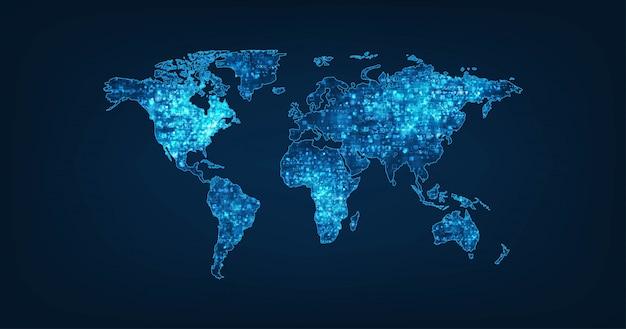 Mappa del mondo su sfondo di colore blu scuro.