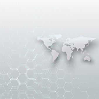 Mappa del mondo tratteggiata bianca, linee e punti di collegamento su sfondo di colore grigio