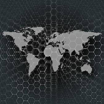 Mappa del mondo tratteggiata bianca, linee e punti di collegamento su sfondo di colore nero