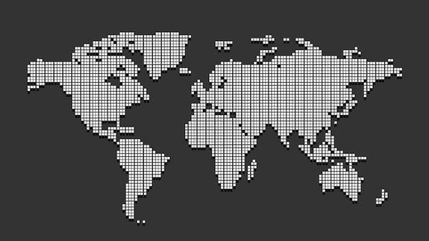 Mappa del mondo tratteggiata bianca