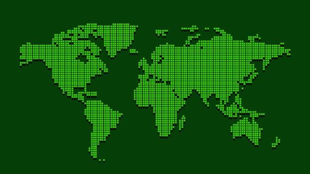 Mappa del mondo tratteggiata verde