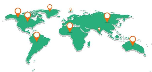 Mappa del mondo verde