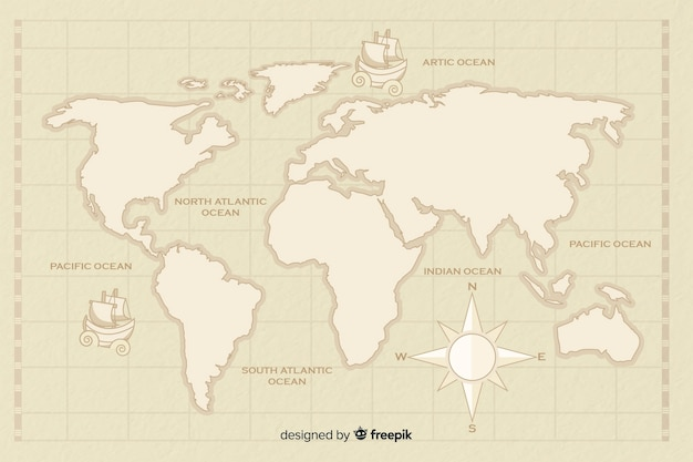 Mappa del mondo vintage con bussola