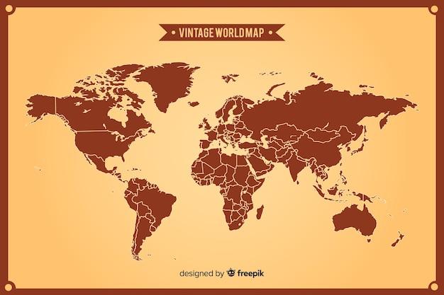 Mappa del mondo vintage con continenti