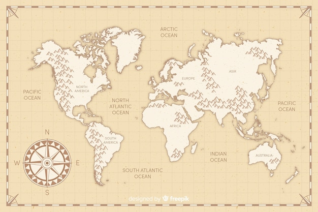 Mappa del mondo vintage design piatto