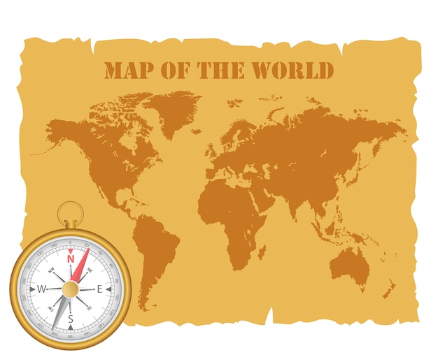 Mappa del mondo vintage e bussola magnetica. illustrazione.