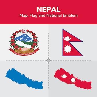 Mappa del nepal, bandiera e emblema nazionale