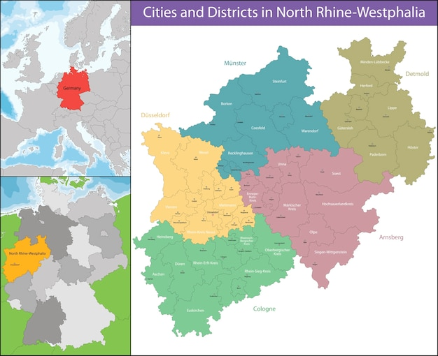 Mappa del nord reno-westfalia