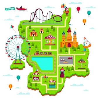 Mappa del parco divertimenti. schema elementi attrazioni festival divertire luna park divertimento famiglia fairground giochi per bambini mappa dei cartoni animati