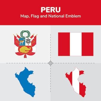 Mappa del perù, bandiera e emblema nazionale